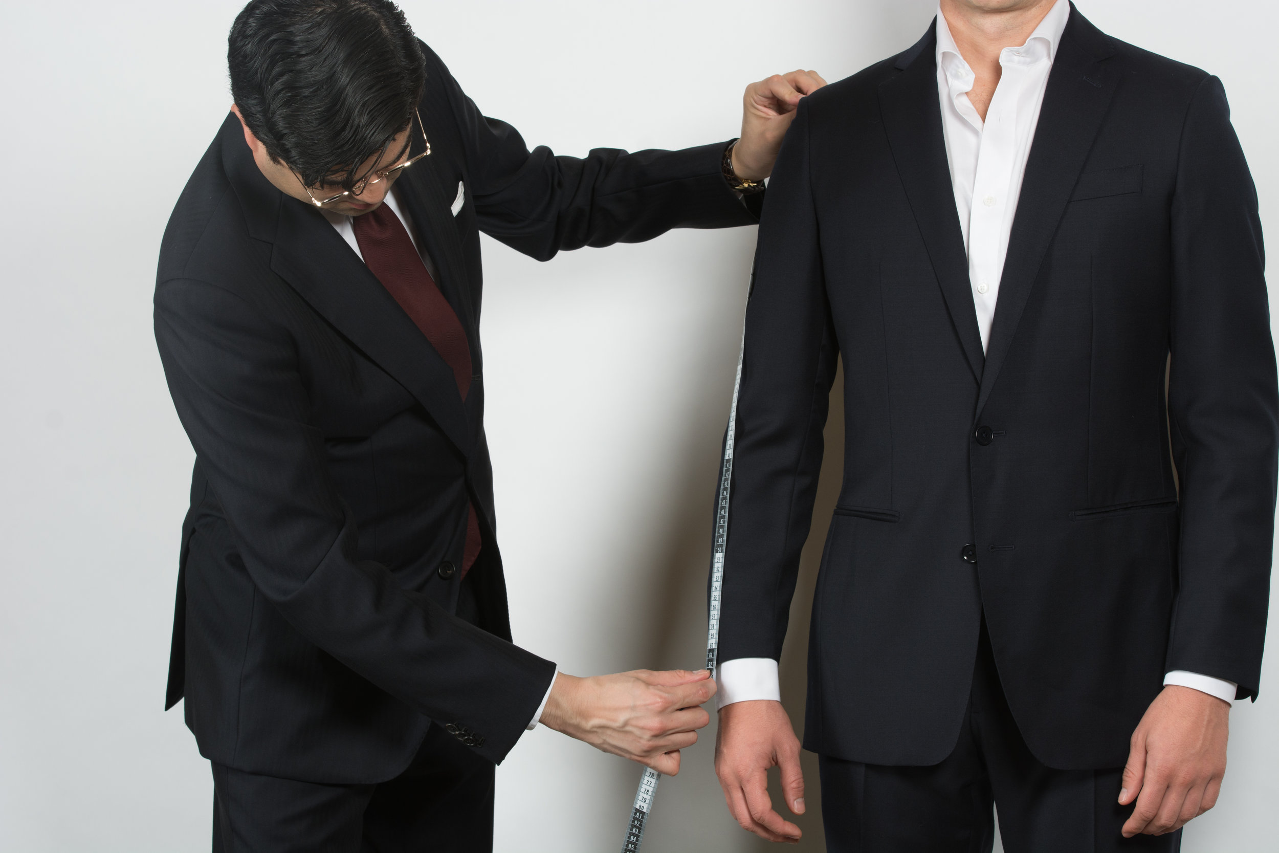 We go to you and measure you for your suit.