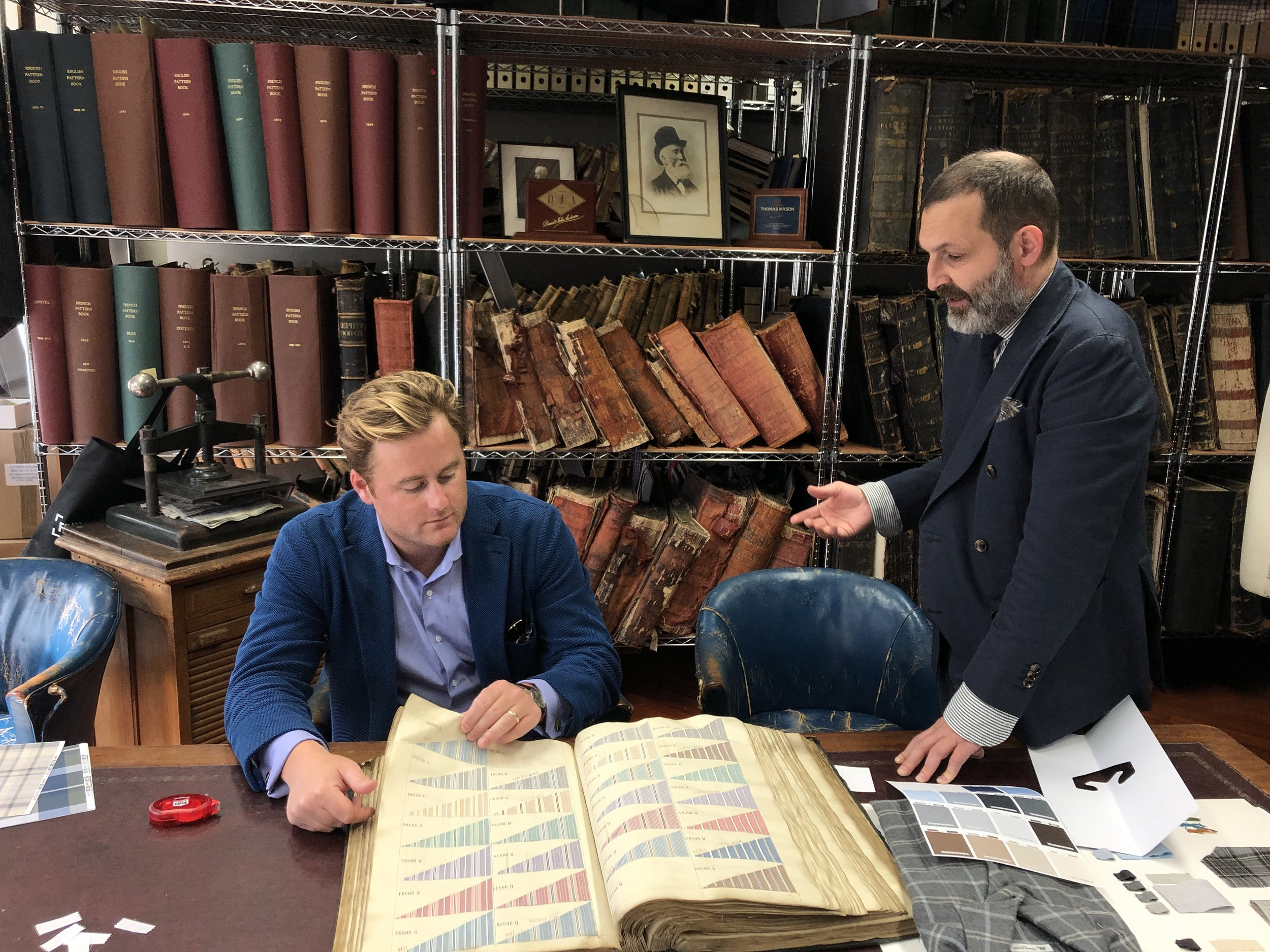 McGregor Madden and Enrico De Pieri in the vault. These fabric collections can be over 150 years old. It's nice to see that while there has been massive innovation in the way cloth is made - a lot of the styles that were popular then are still popular now.