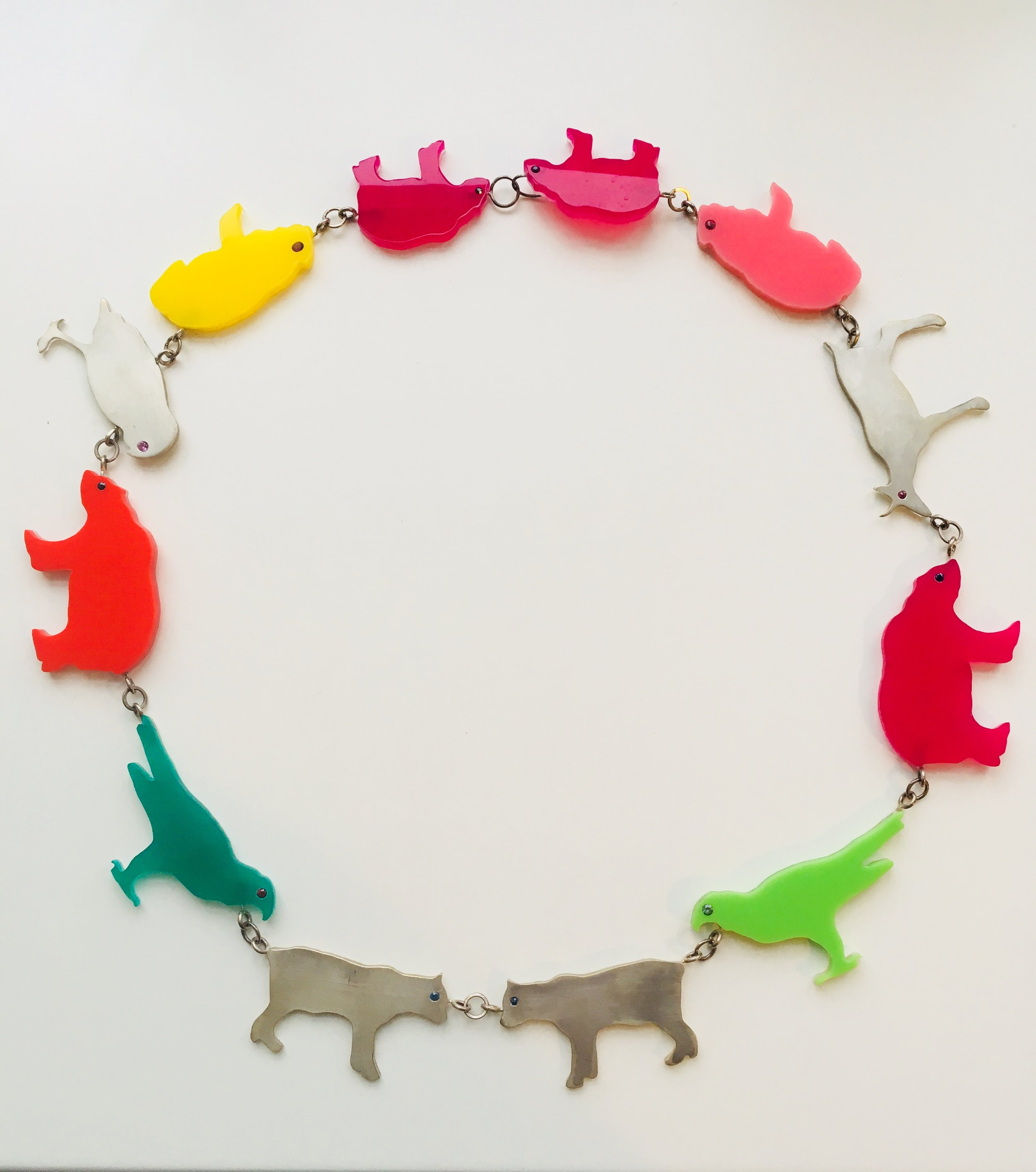 Animalistic #2 - necklace from plexiglass & silver / endangered animals species in Slovenia