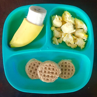 1/2 banana, 1 scrambled Vital farms egg, 3 Earth's Best mini waffles