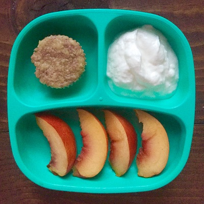 1 homemade raspberry muffin, 1/2 cup Siggi's whole milk 4% yogurt, 1/2 nectarine (sliced)