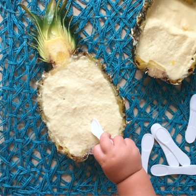 Pina Colada Froyo in a Pineapple Shell