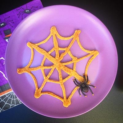 Spooky Spider Web Pumpkin Pancakes