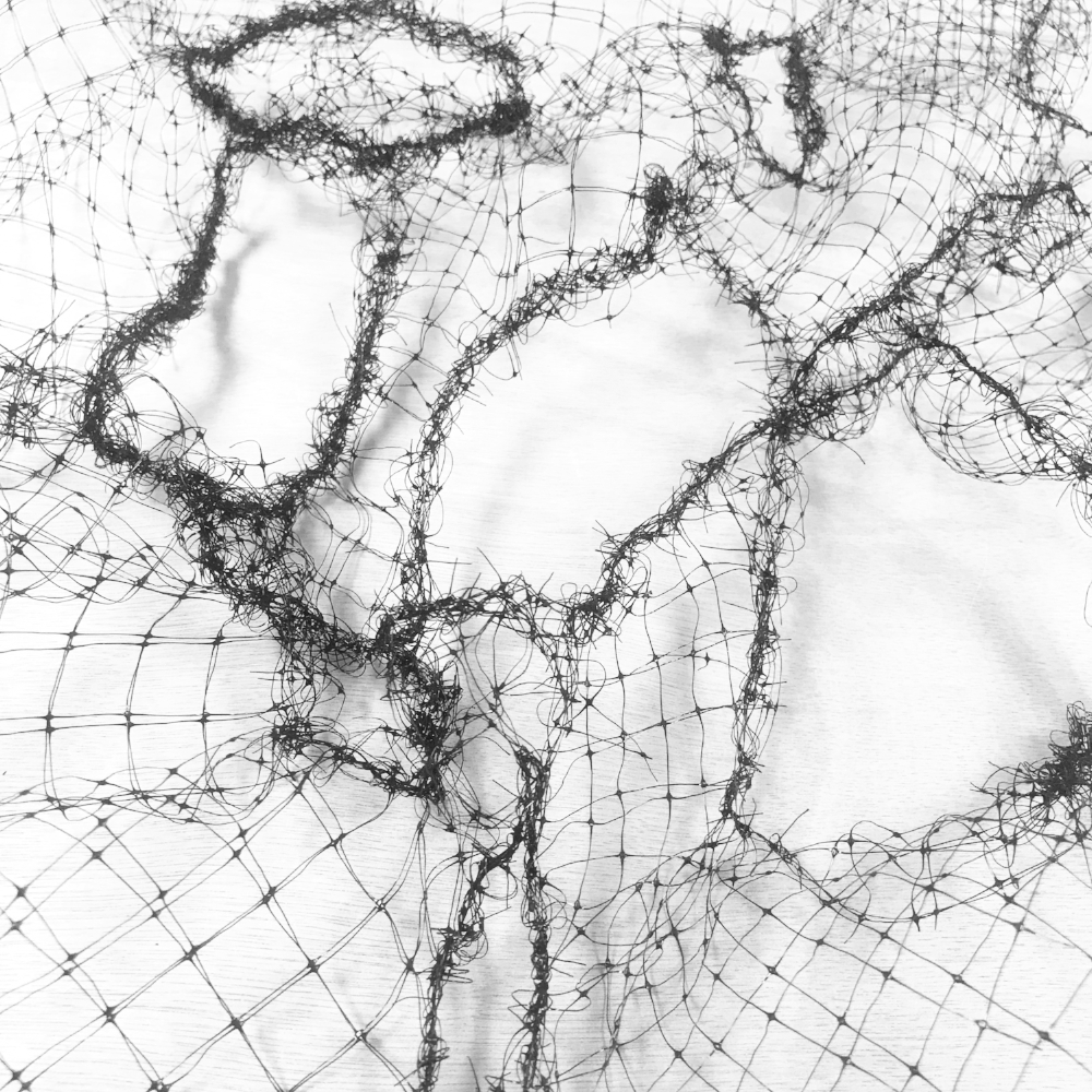 Mendwork; Study #3. From  A/mends . Bird netting and black thread. 2018
