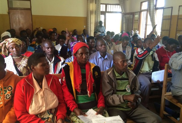 Vedaste Hategekimana / Partners In Health Partners In Health and Rwandan Ministry of Health staff train community health workers in Burera District in December. The topic is breast cancer.