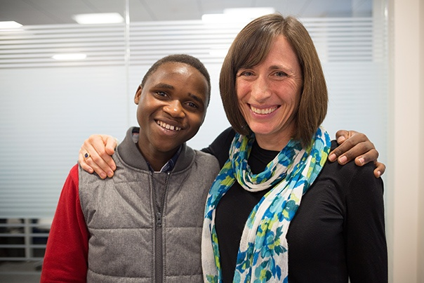 Sibo Tuyisenge (left) while in the US for cancer treatment. Photo by Zack DeClerck / Partners In Health
