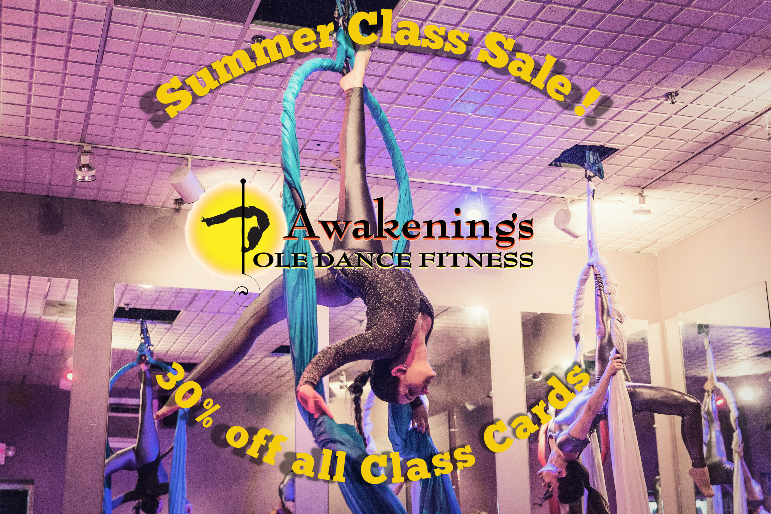 30% off all Class Cards for Memorial Day Weekend only! - These summer class cards are good for all open enrollment classes including pole, aerials, acro and buti-yoga classes! Sale ends at 9:30pm May 27th!