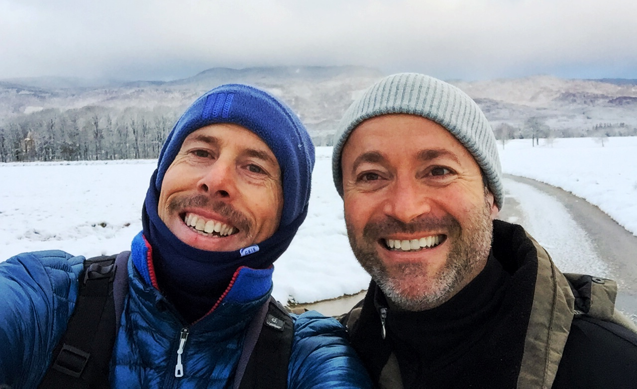 """That's Tony Johnston (right) with me on a Movember """"Everest en Suisse"""" Challenge Walk in 2015"""