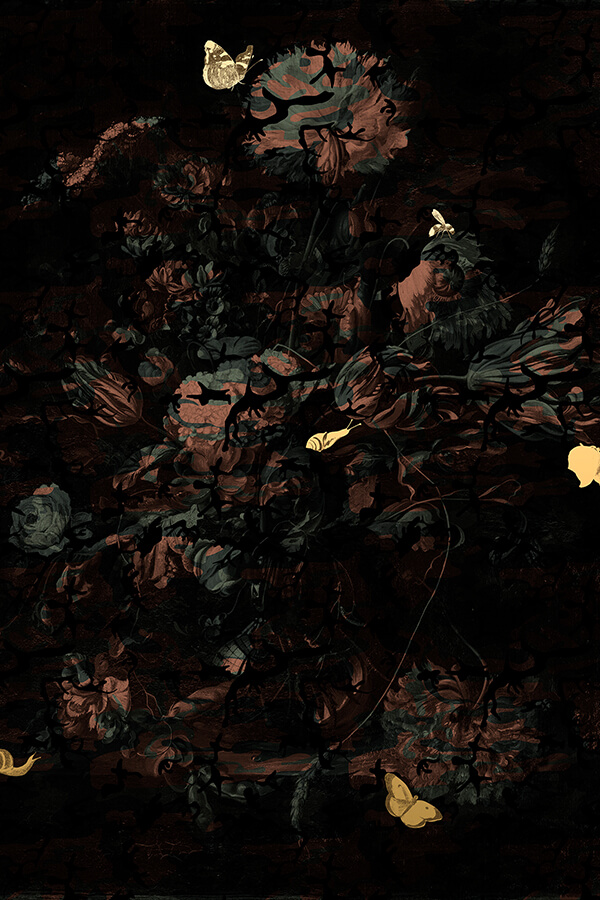 Magnus Gjoen,  About The Dead, Either Well or Nothing Pink , 2016 Gold leaf on cotton canvas Limited edition print of 50, 35 x 110cm