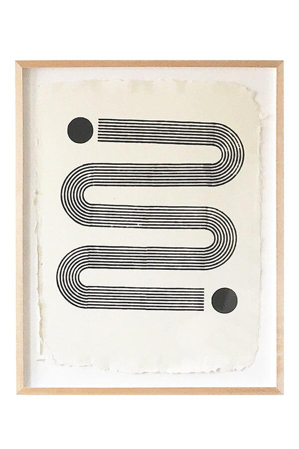 Block Textiles,  Sunwave   Large woodblock print natural black dye on handmade cotton rag paper 89 x 66cm