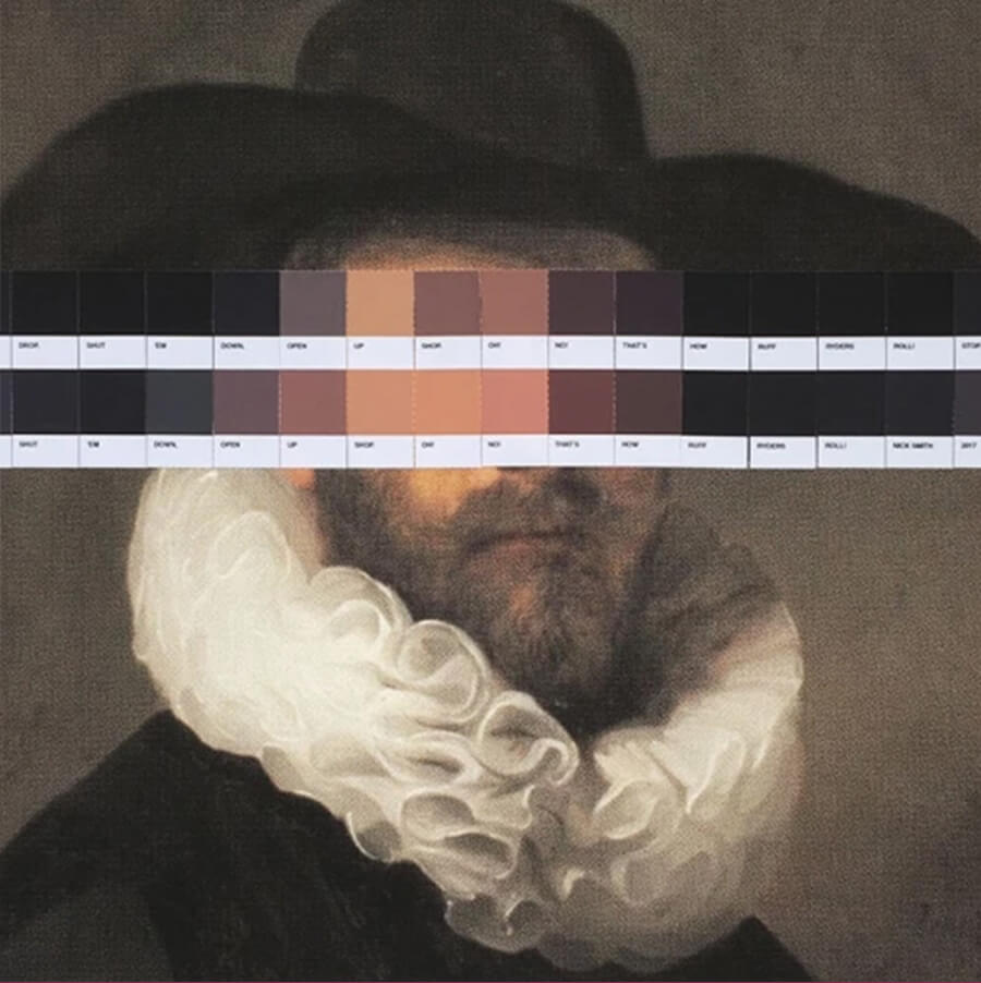 Nick Smith,  Rembrandt's Ruff Ryder I , 2017 24 Colour Chip collage  42cm x 42cm (Framed), Signed Edition of 3