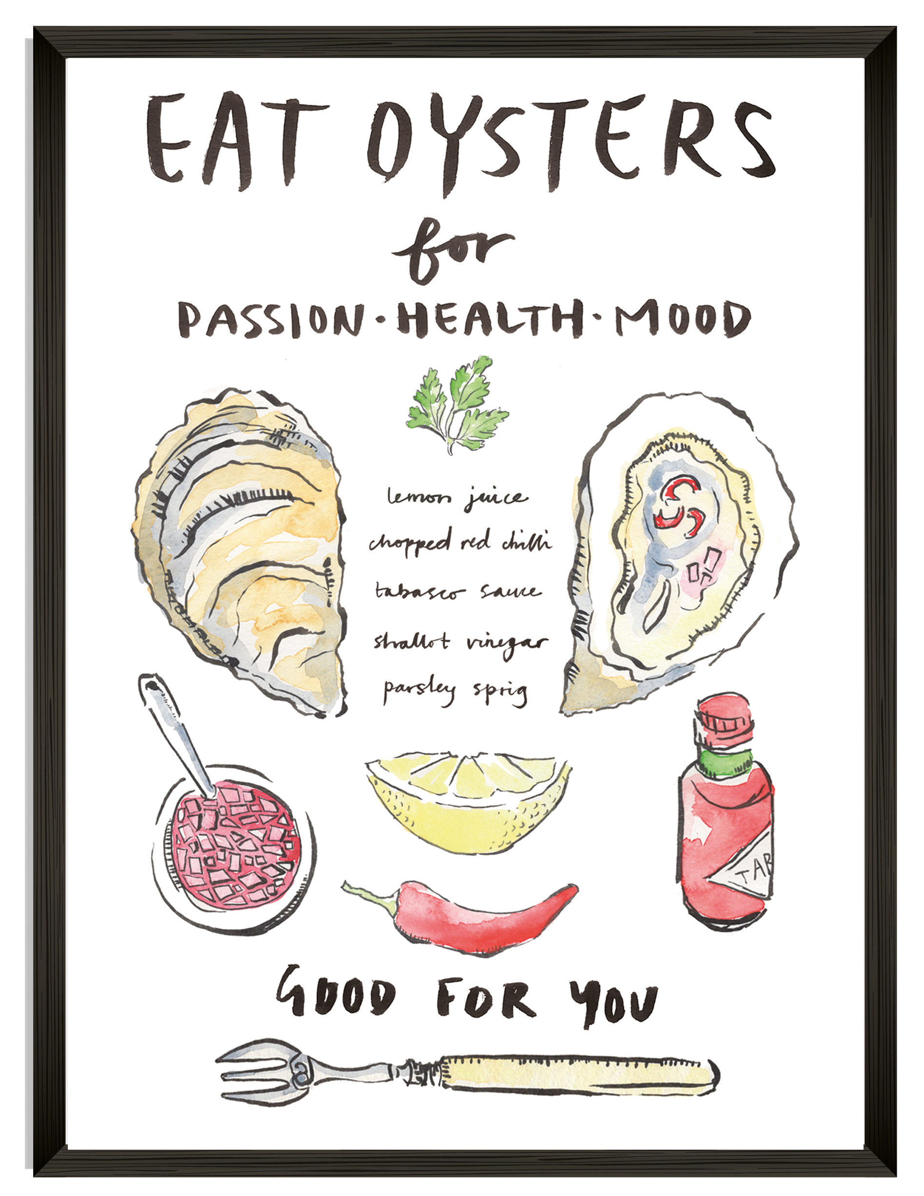 "'EAT OYSTERS' A4 Art Print £20     Click to treat yourself! ""Eat Oysters"""