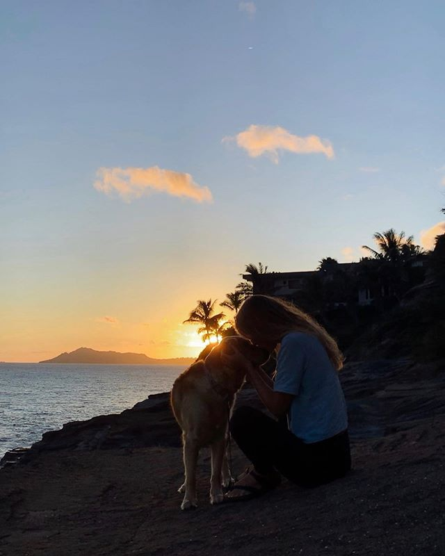 One of my favorite places to watch the 🌅 sunset! Had a beautiful night with @nani.mana enjoying the warm breeze and many cuddles with my love @lila_goldenretriever !  Where is your favorite spot to watch the sunset ?