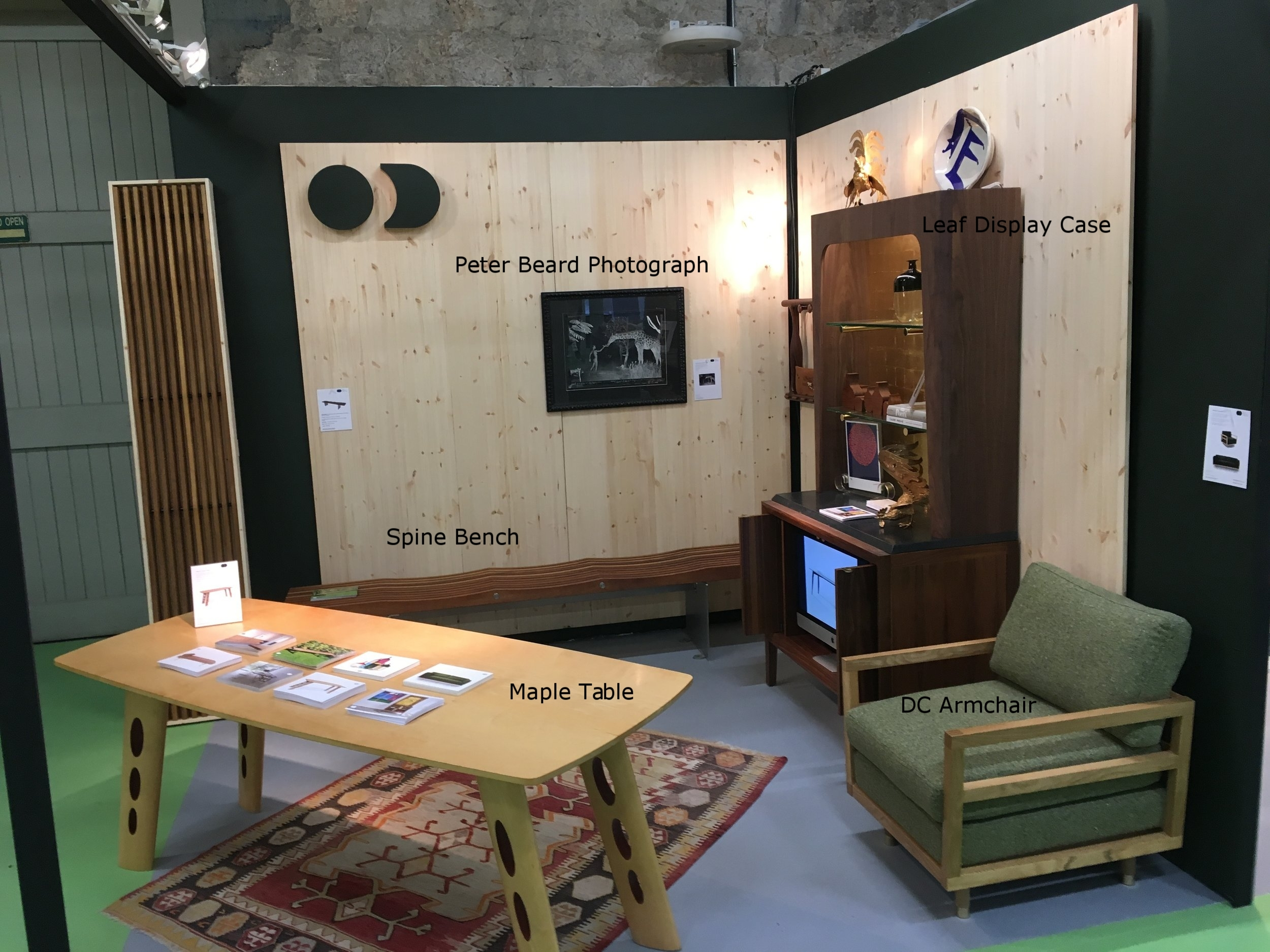 Showing Maple Dining Table (1996), Outdoor Spine Bench (free standing & crated for storage & shipping) and the recent Leaf Display Cabinet at HOUSE 2017, RDS, Ballsbridge Dublin 4. Including mix of antiue rug, Peter Beard photograph, 1960's Danish stool (wall mounted), Patrick Scott print among others.