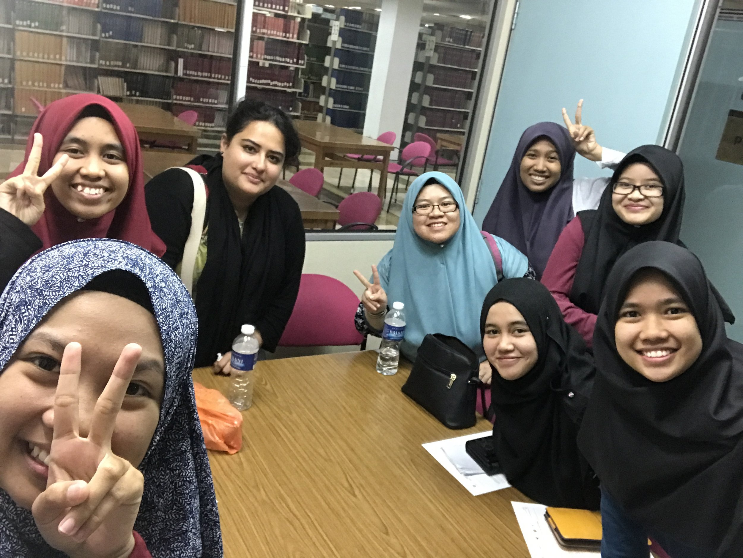 Conducting focus group with Malaysian engineering students in the library at Universiti Teknologi Malaysia (UTM) in Johor Bahru.