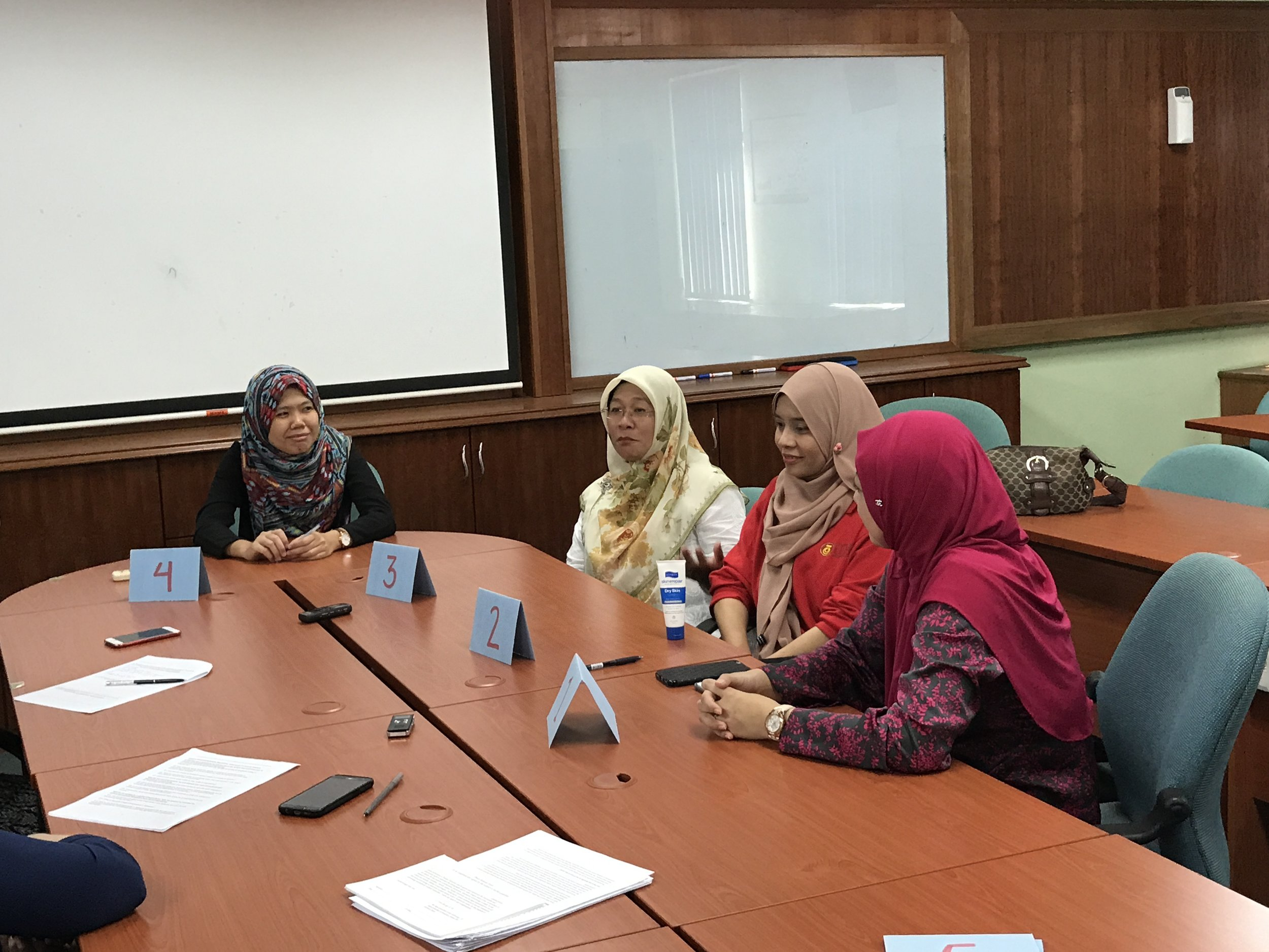 Conducting a focus group interview with mechanical engineering faculty members at UTM in Johor Bahru.