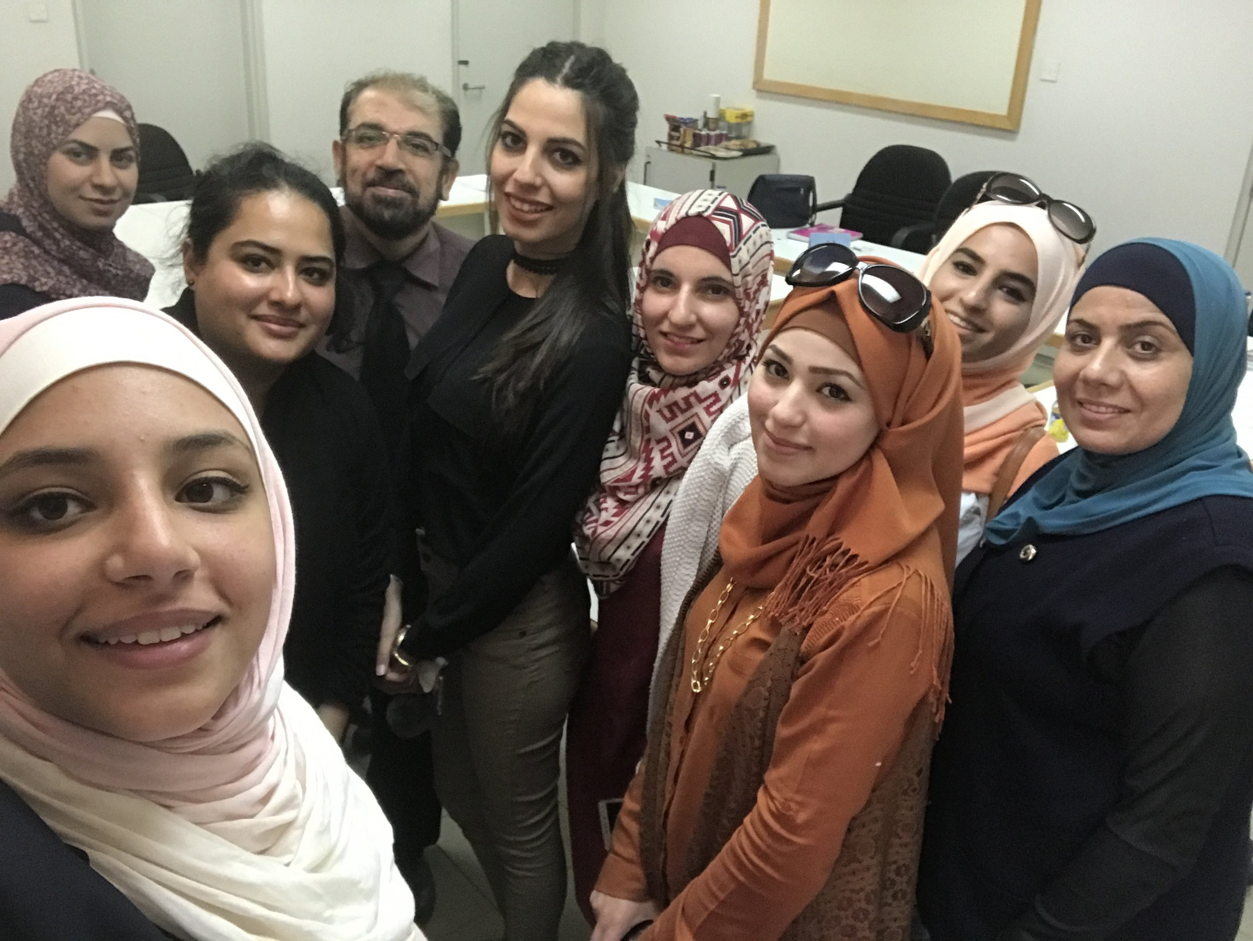 Posing for a casual selfie with the students after the focus group.