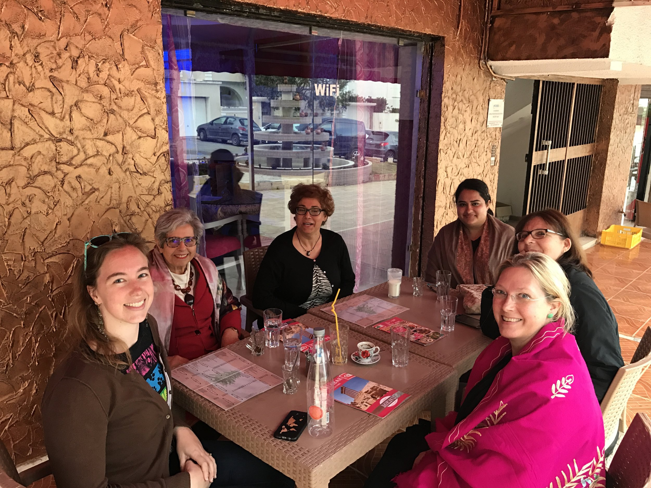 Our US and Tunisian team having tea with a renowned Tunisian anthropologist