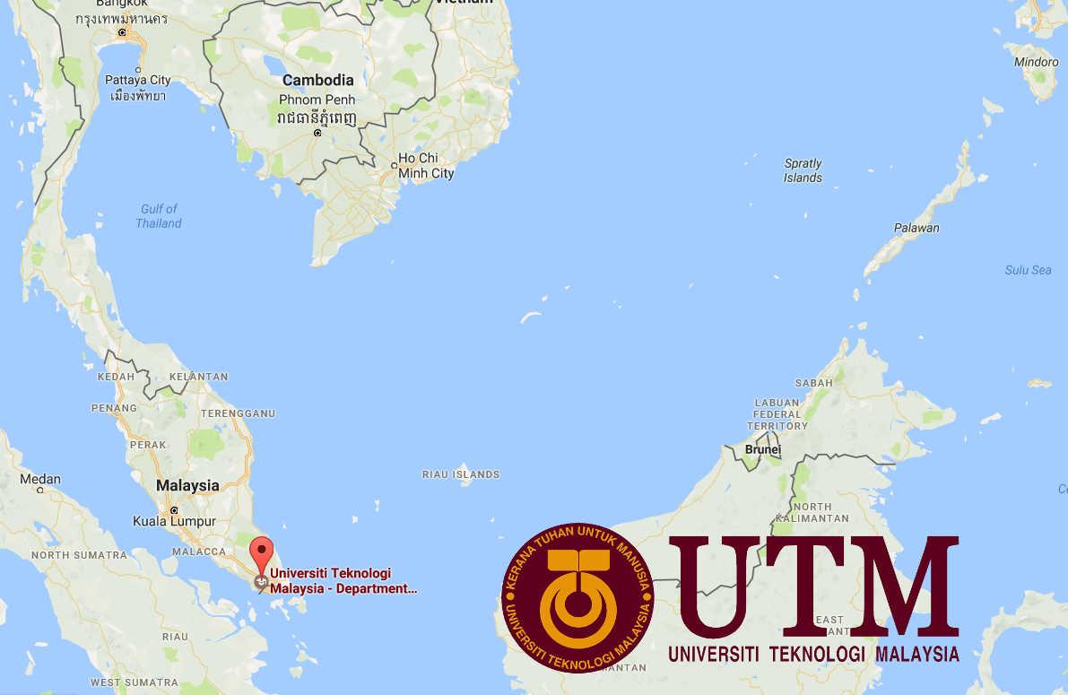 Map of Malaysia with locator pin at University Technology Malaysia