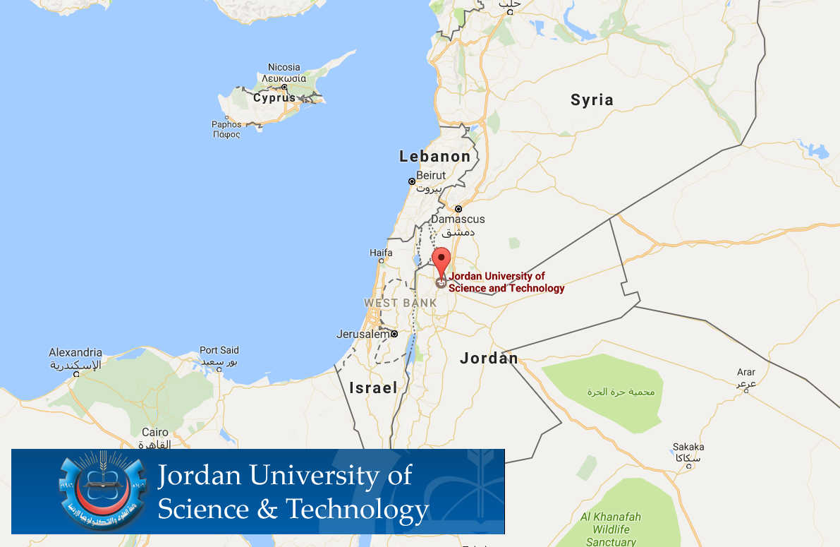 Map of Jordan with locator pin at Jordan University of Science and Technology
