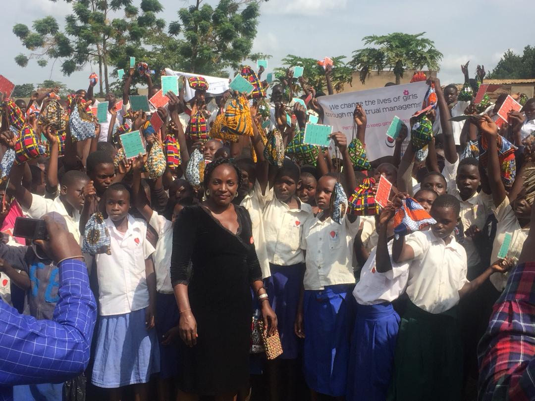 Phoebe Nabwami with students in Pallisa, Uganda