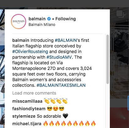 Balmain is using a temporary hashtag at the end of the post to encourage others who are participating to use it as well, and get attention. But, it's also using a viral hashtag #balmain at the beginning to get noticed to a larger audience.