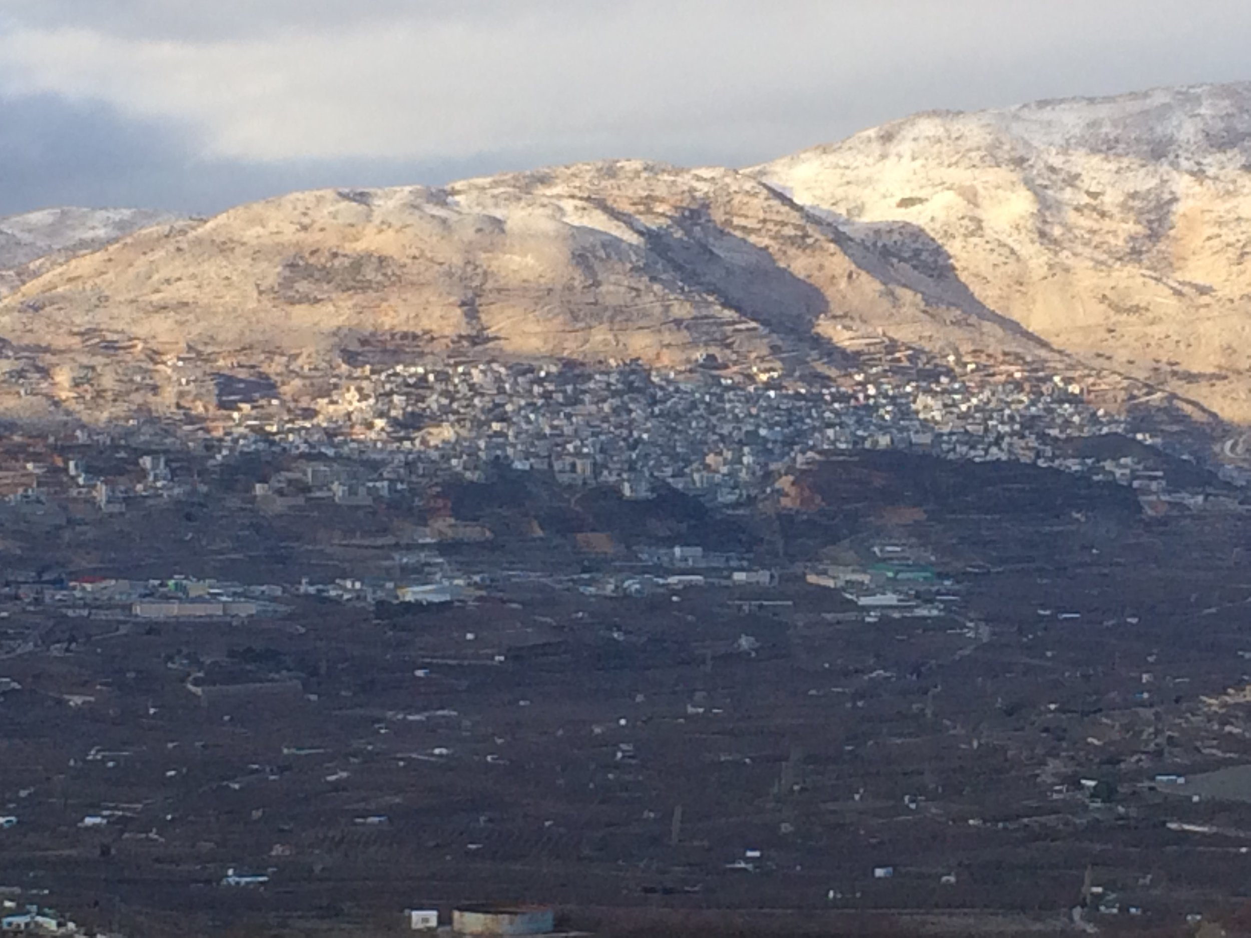 Majdal Shams sitting at the foot of Mount Hermon