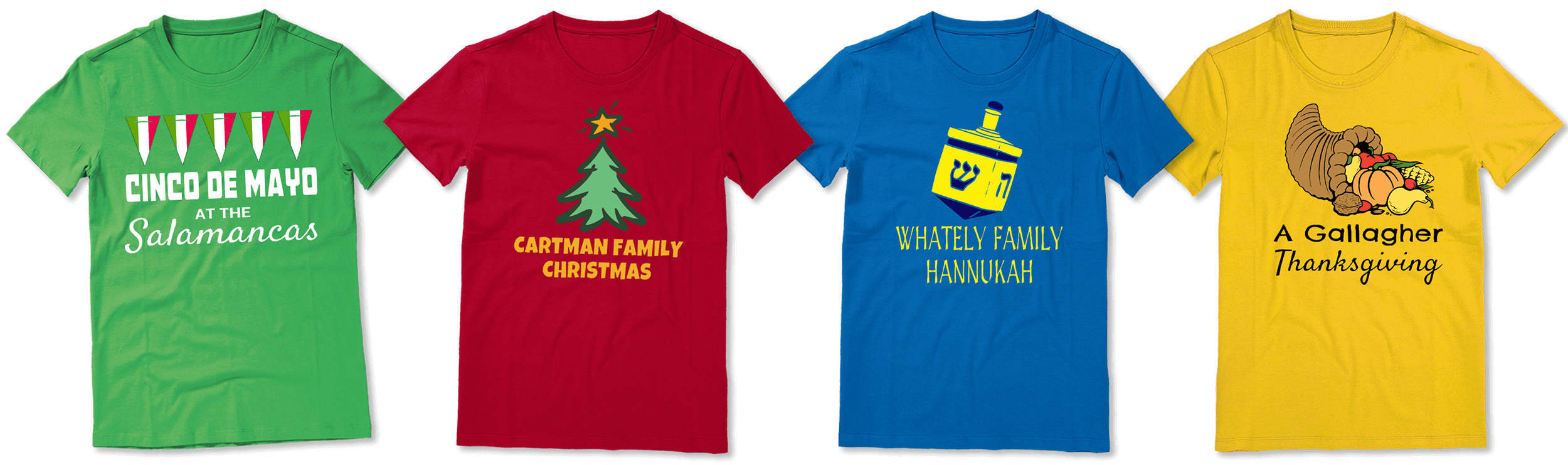 Various designs for custom holiday T-shirts from Merchly