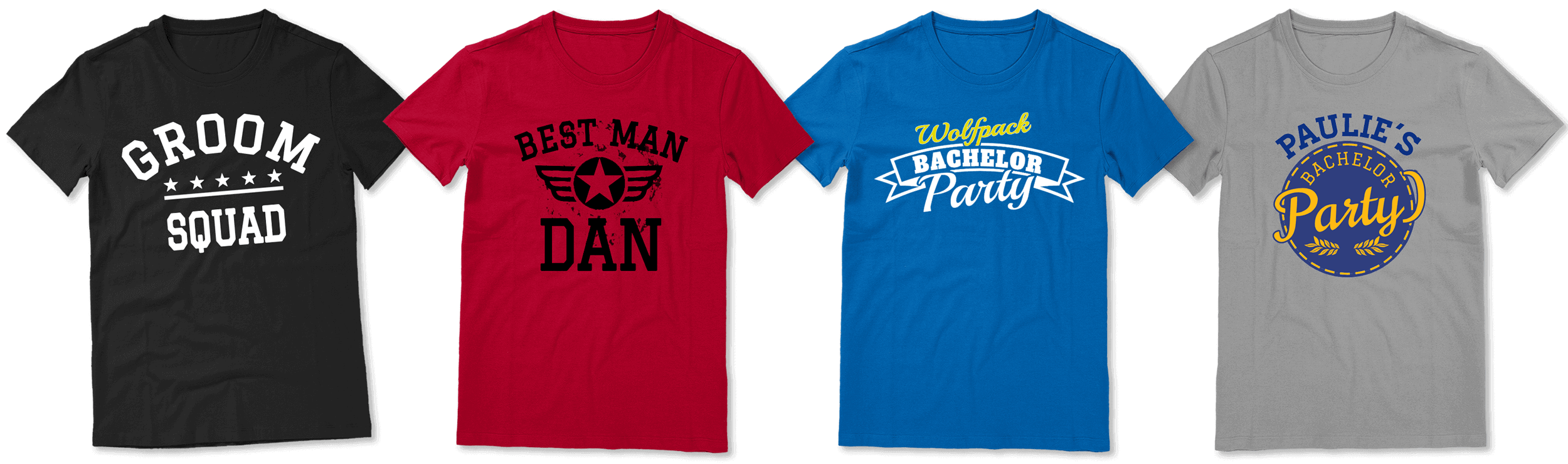 Custom Bachelor party t-shirts with various design