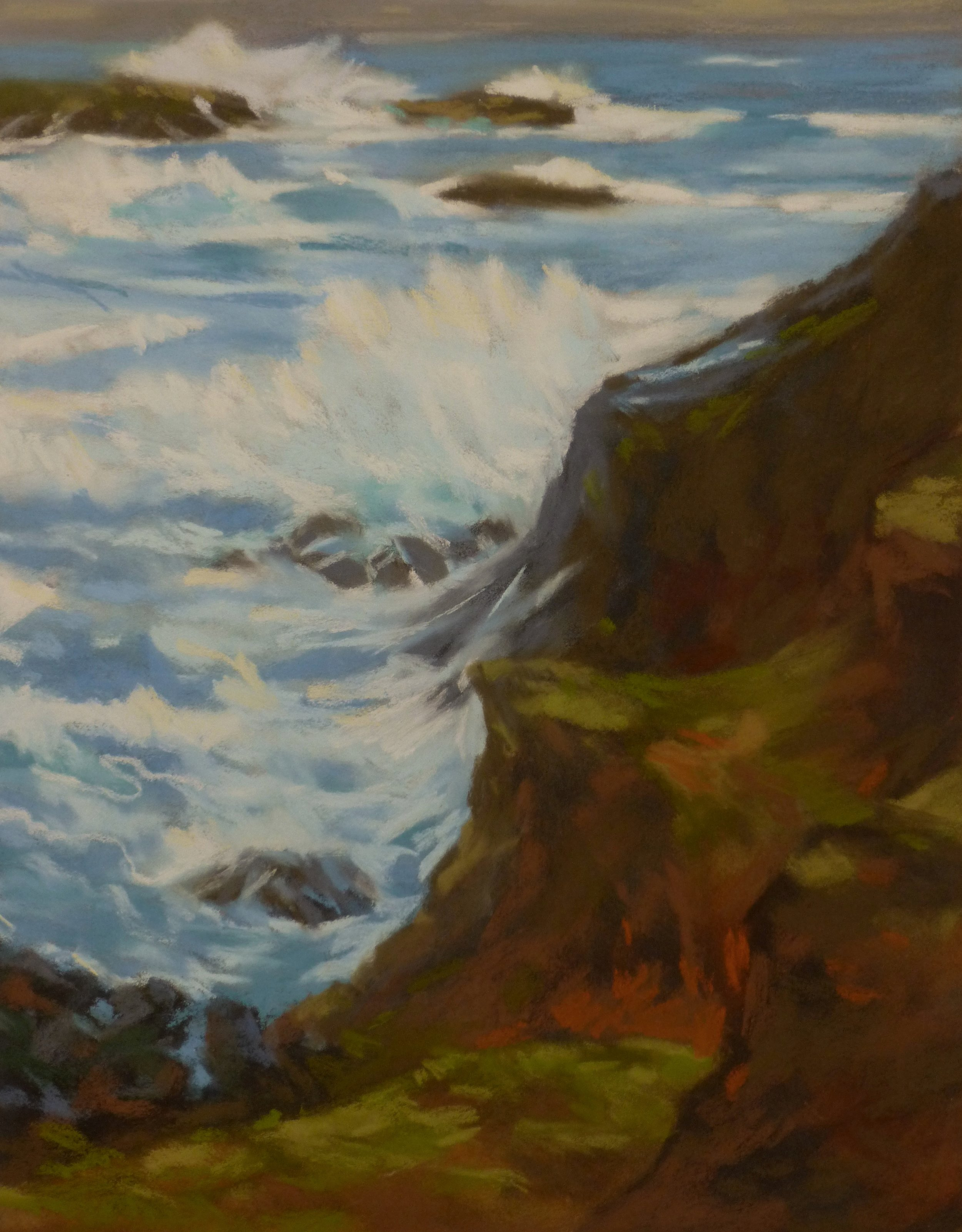 Wave Watching   Pastel on Copper, 14 x 18 in   25.25 x 29.5 in framed   $1,800