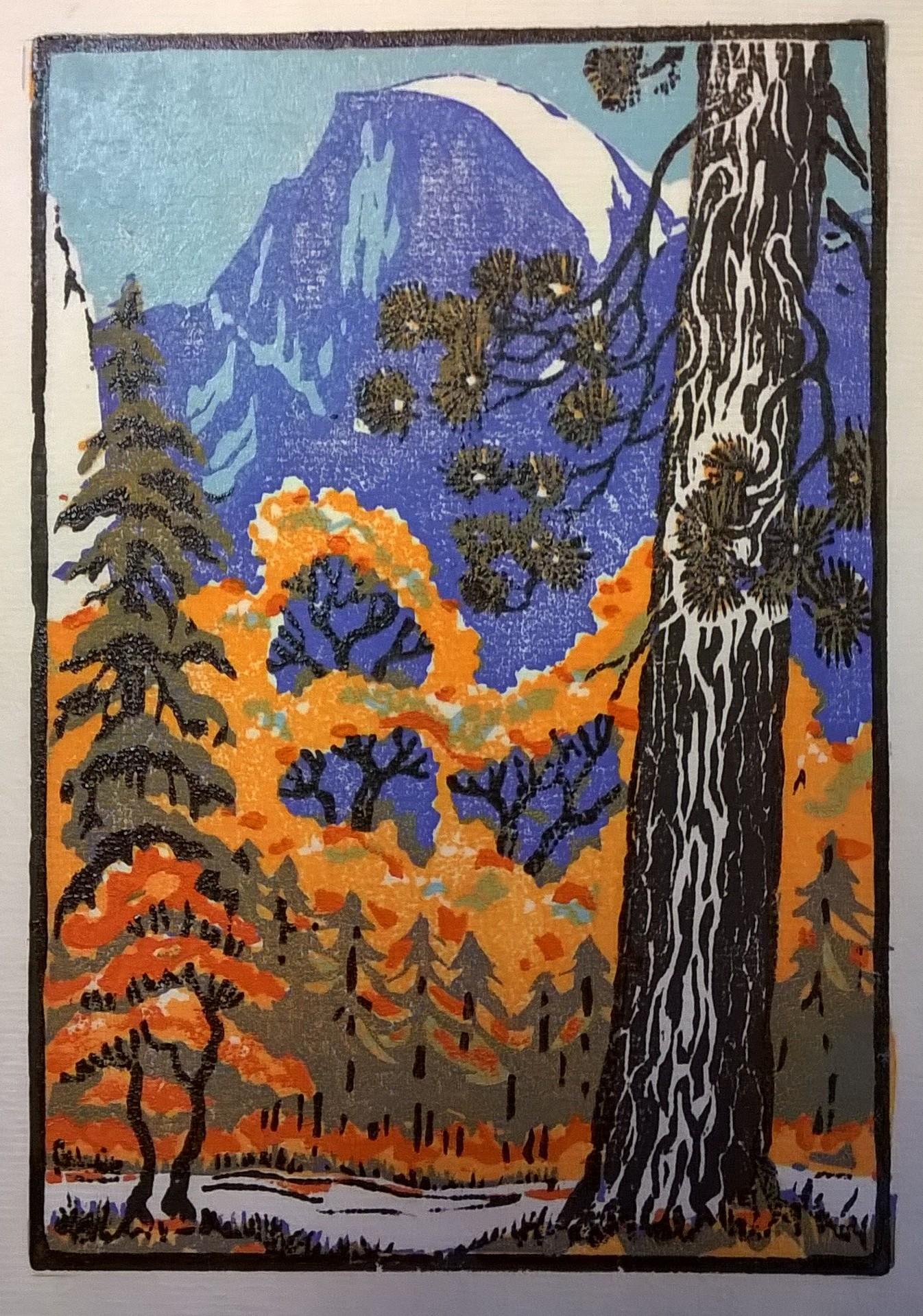 Half Dome Autumn, Yosemite | Della Taylor Hoss Woodcut | Printed by Martino Hoss | 5.25 x 7.5 in | $250