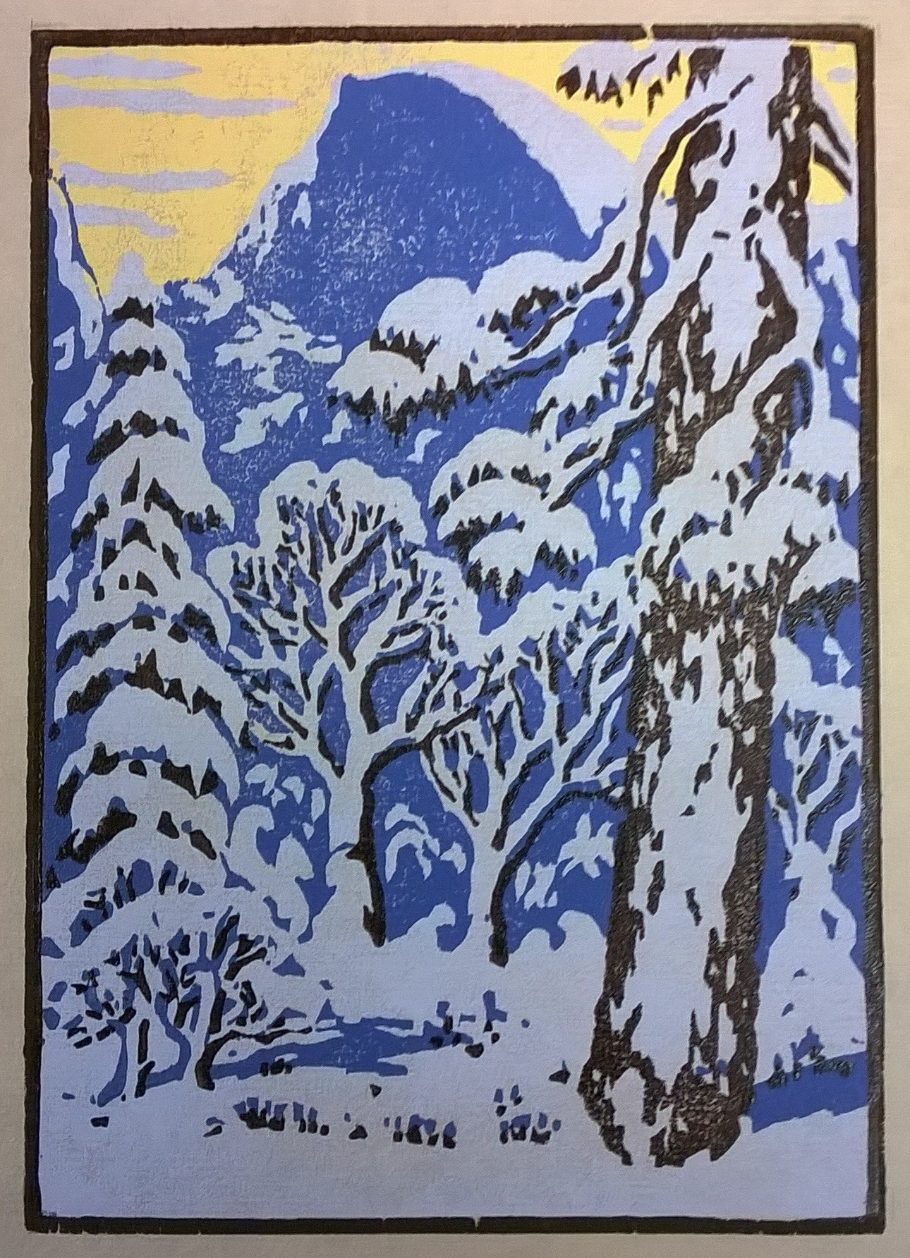 Half Dome Winter, Yosemite | Della Taylor Hoss Woodcut | Printed by Martino Hoss | 5.25 x 7.5 in | $250