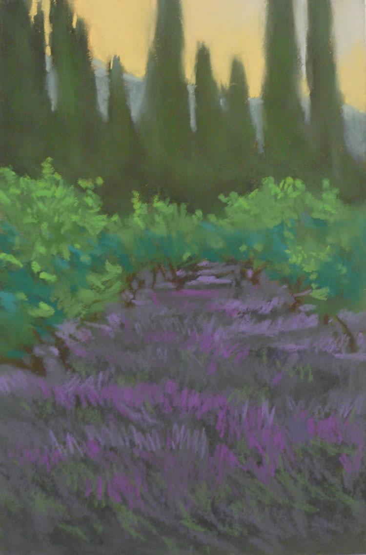 Lavender Dawn | Pastel on Copper | 8 x12