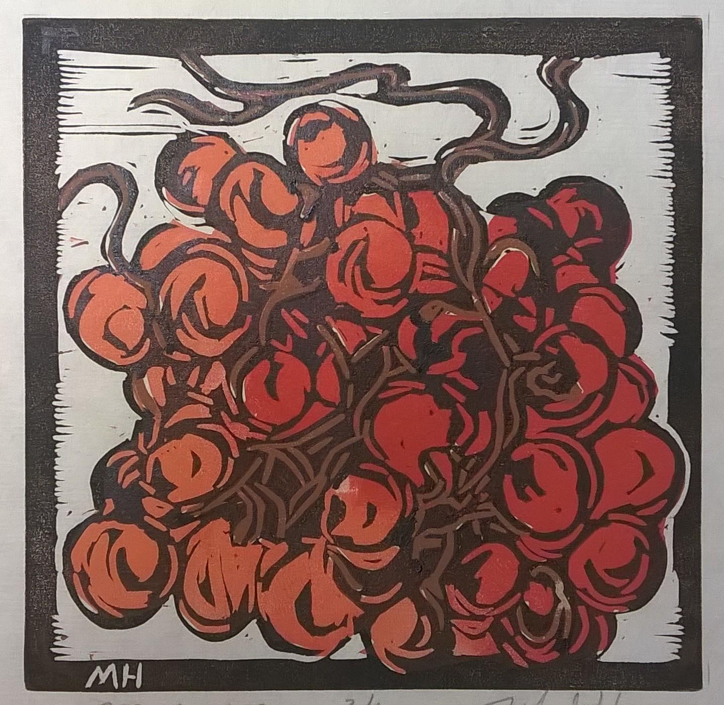 Amber Grapes | Block Print, 6 x 6 in | $225