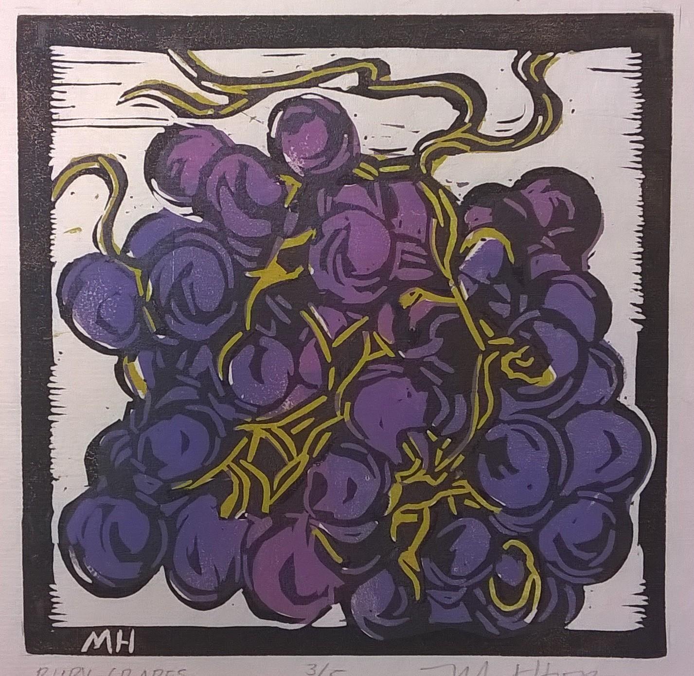 Ruby Grapes | Block Print, 6 x 6 in | $225