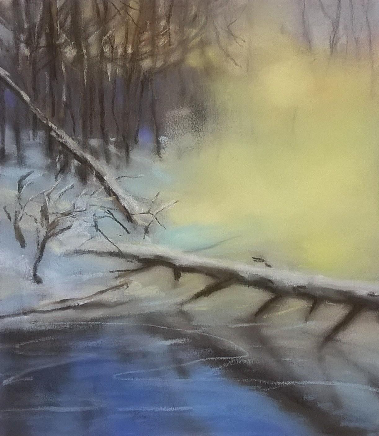 Winter Crossing   Pastel on Copper, 8 x 9 in   17.25 x 18.50 in framed    $850