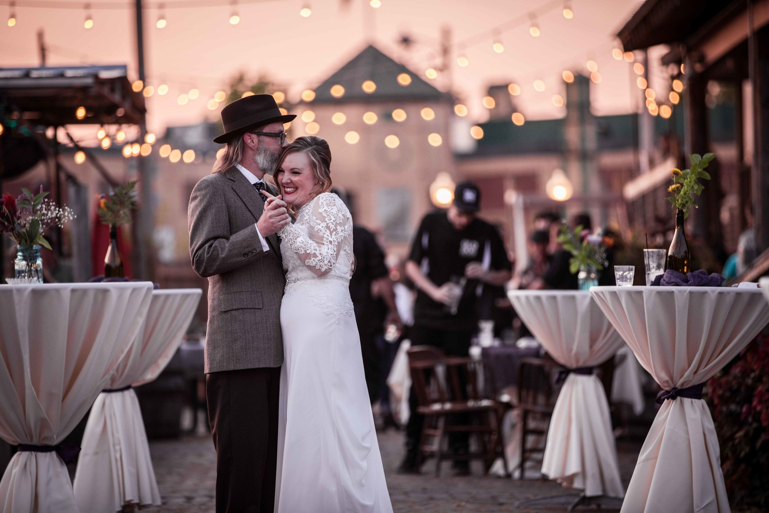 The newly weds share their first dance at Old Dog Tavern during the after party