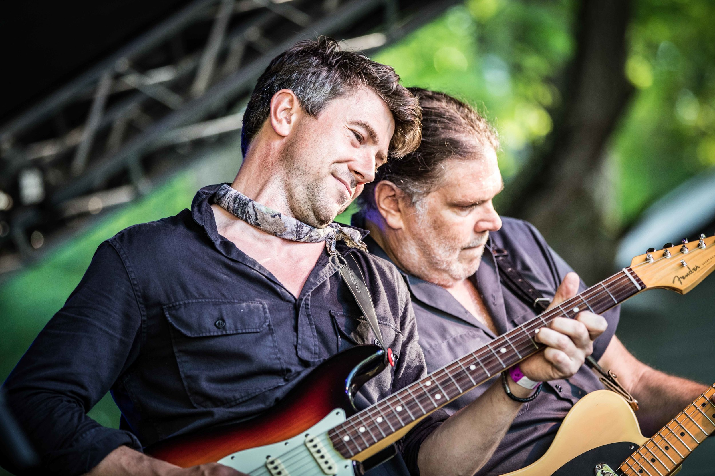 Dueling guitarists on the main stage during the 2018 Buttermilk Jamboree