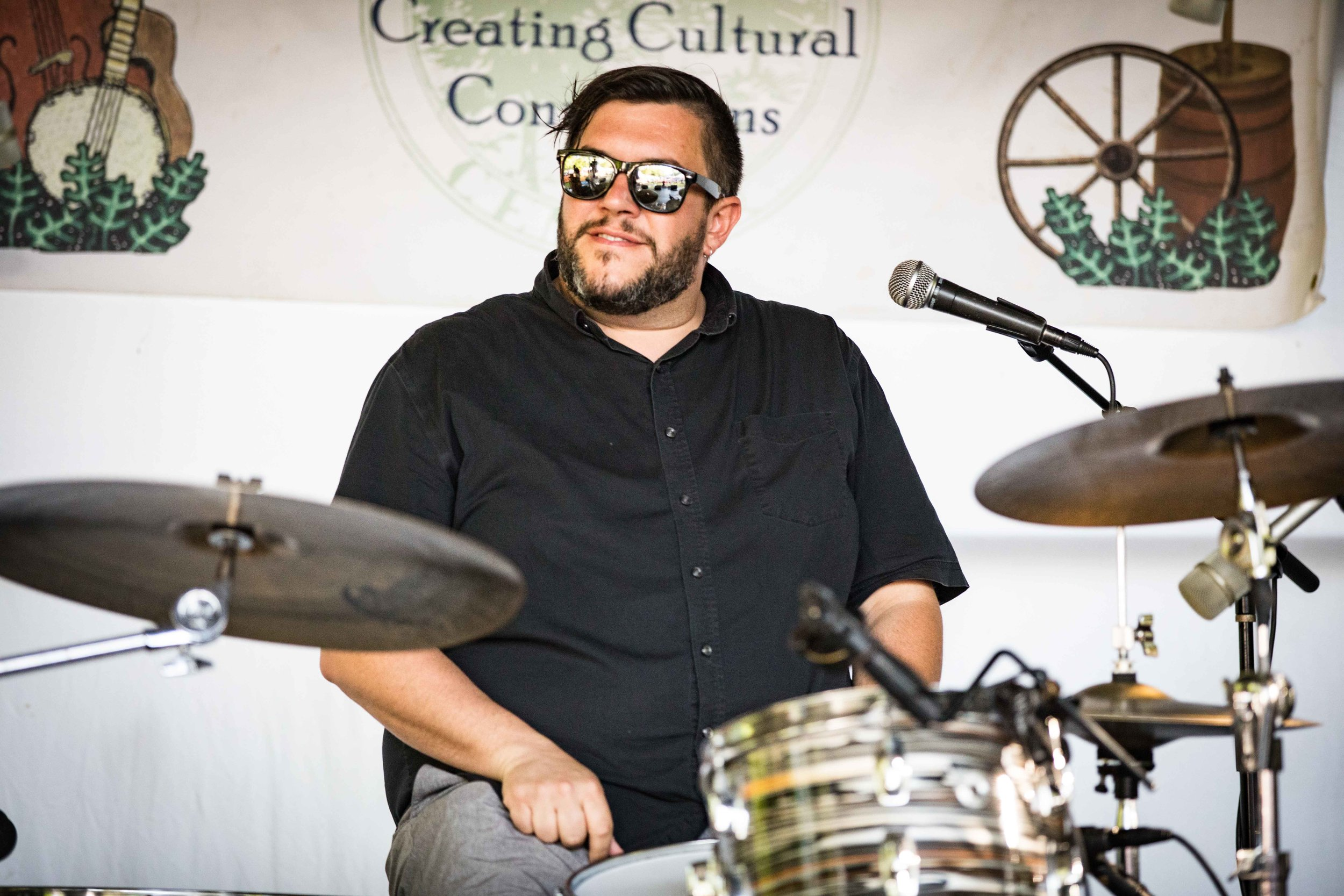 Drummer Michael Shimmin at the Buttermilk Jamboree Music Festival