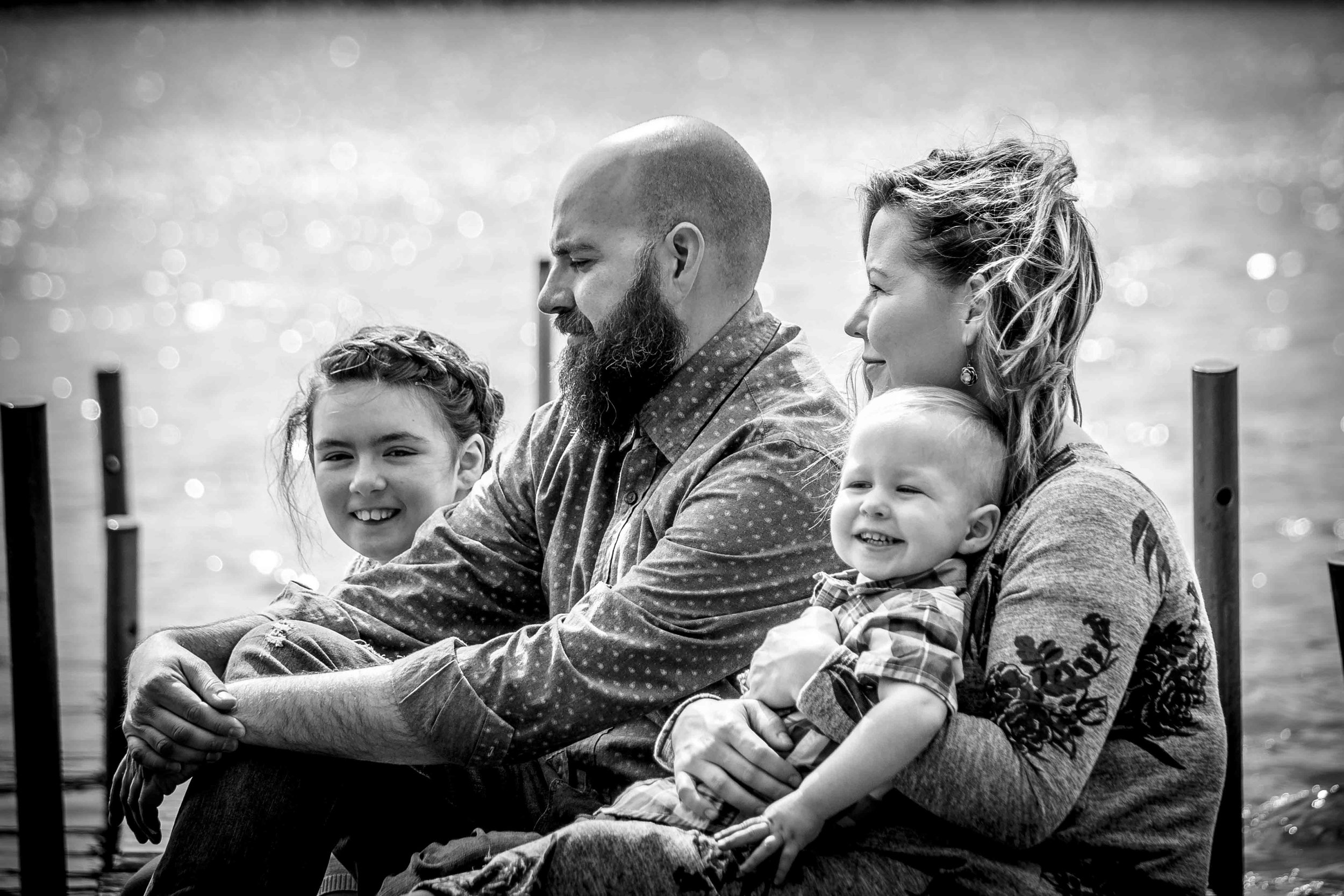 CDP Family session on dock at the lake in black and white.jpg