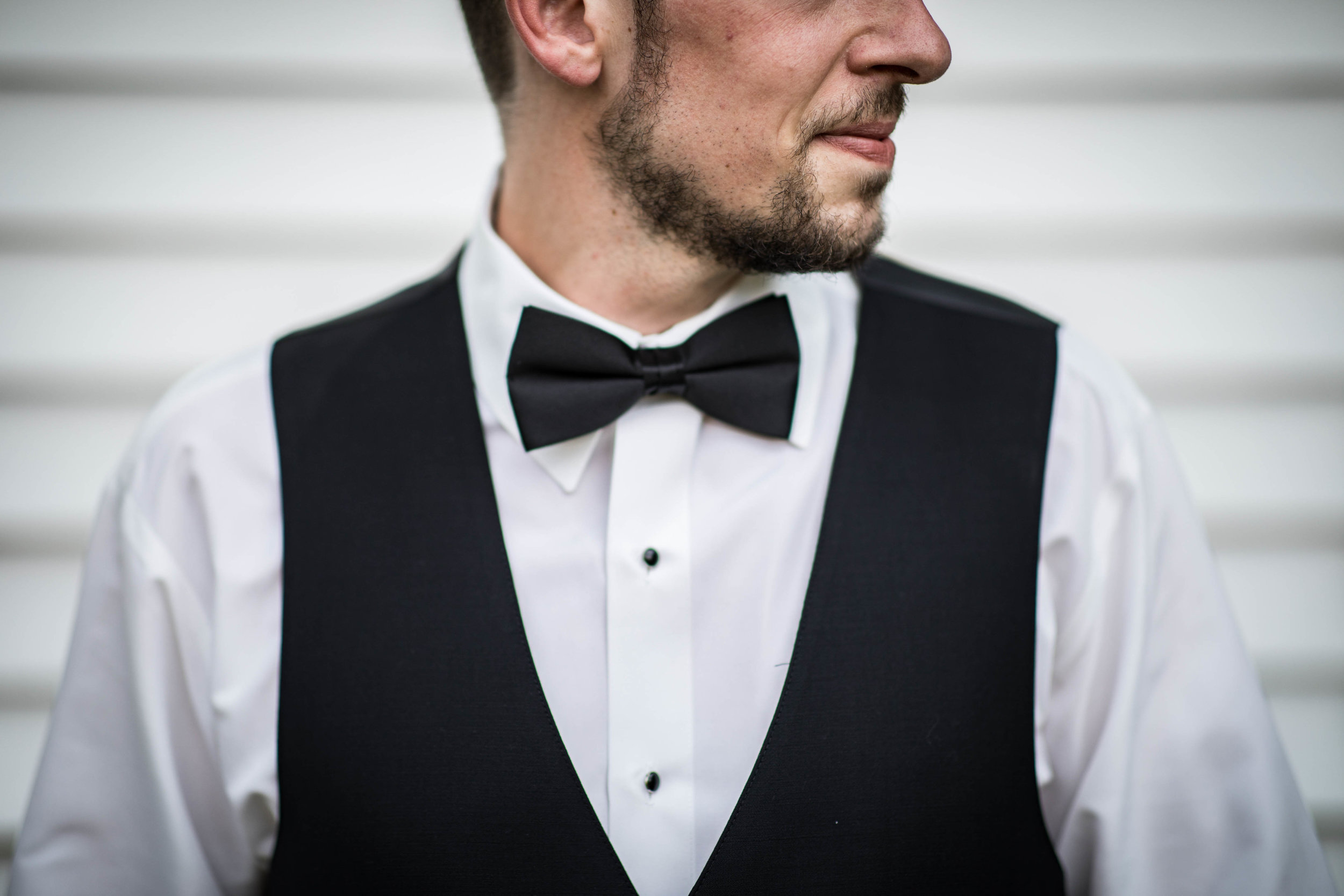 profile bowtie photo of the groom