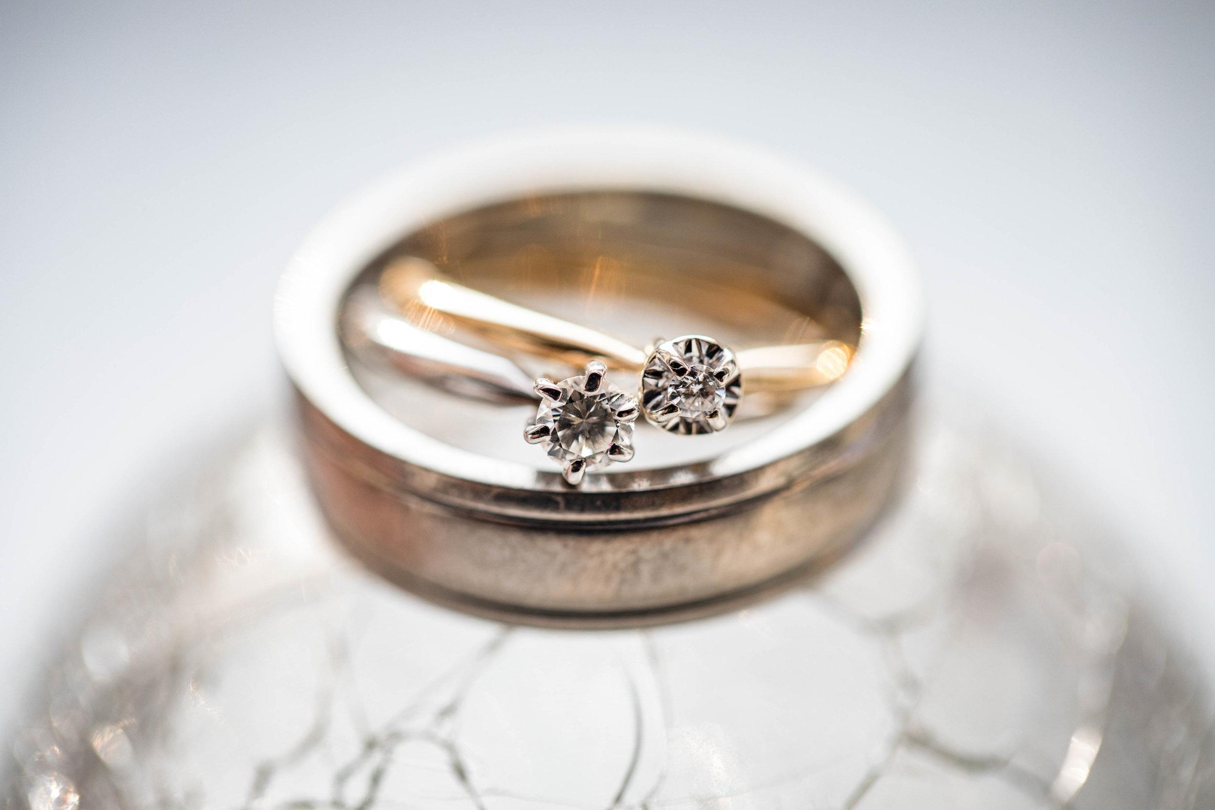 Wedding band and diamond rings