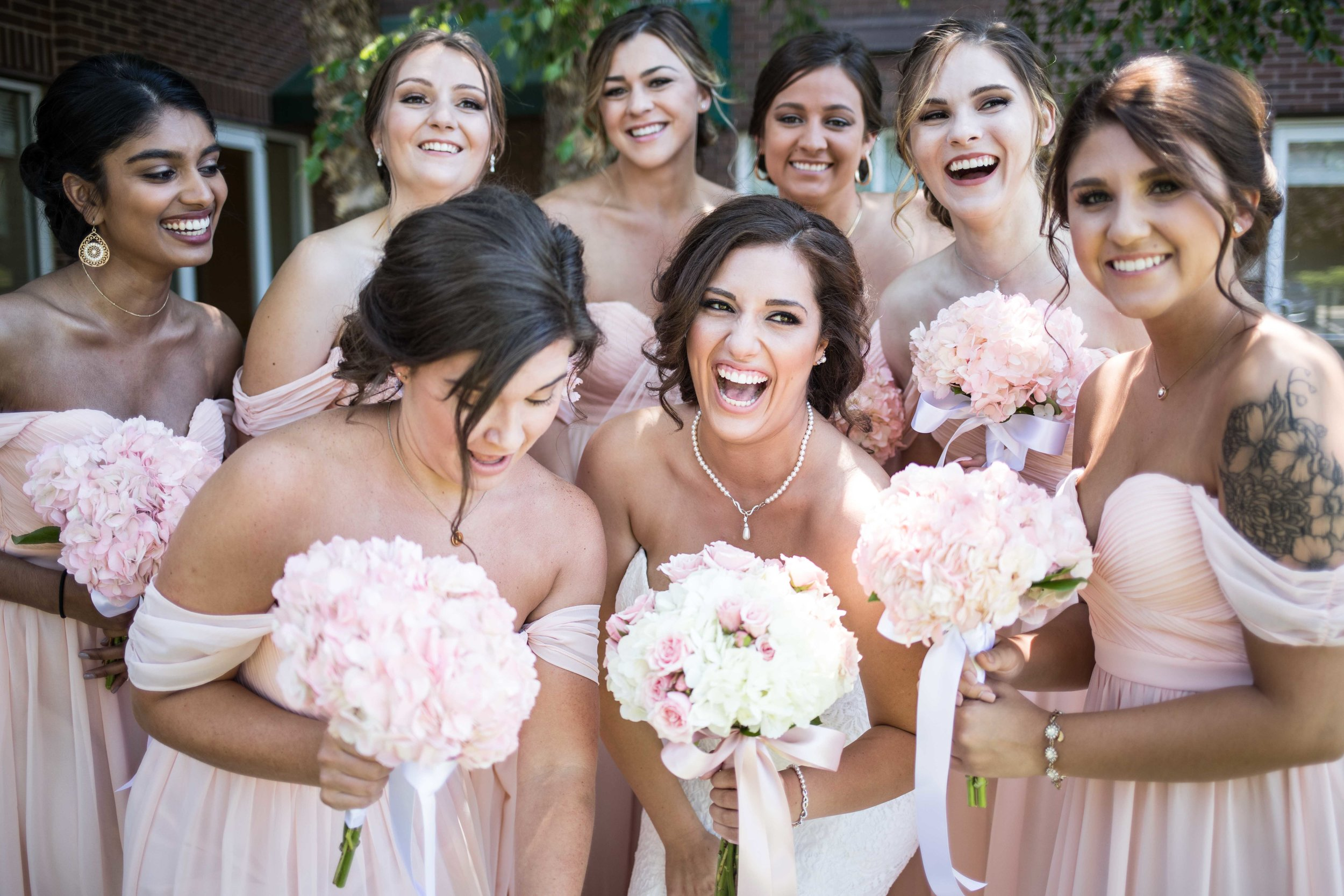 Pink Bridesmaids in East Michigan