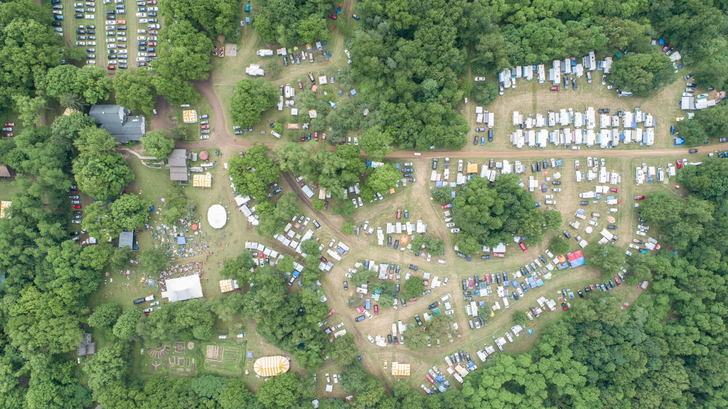 an aerial photo of the festival grounds