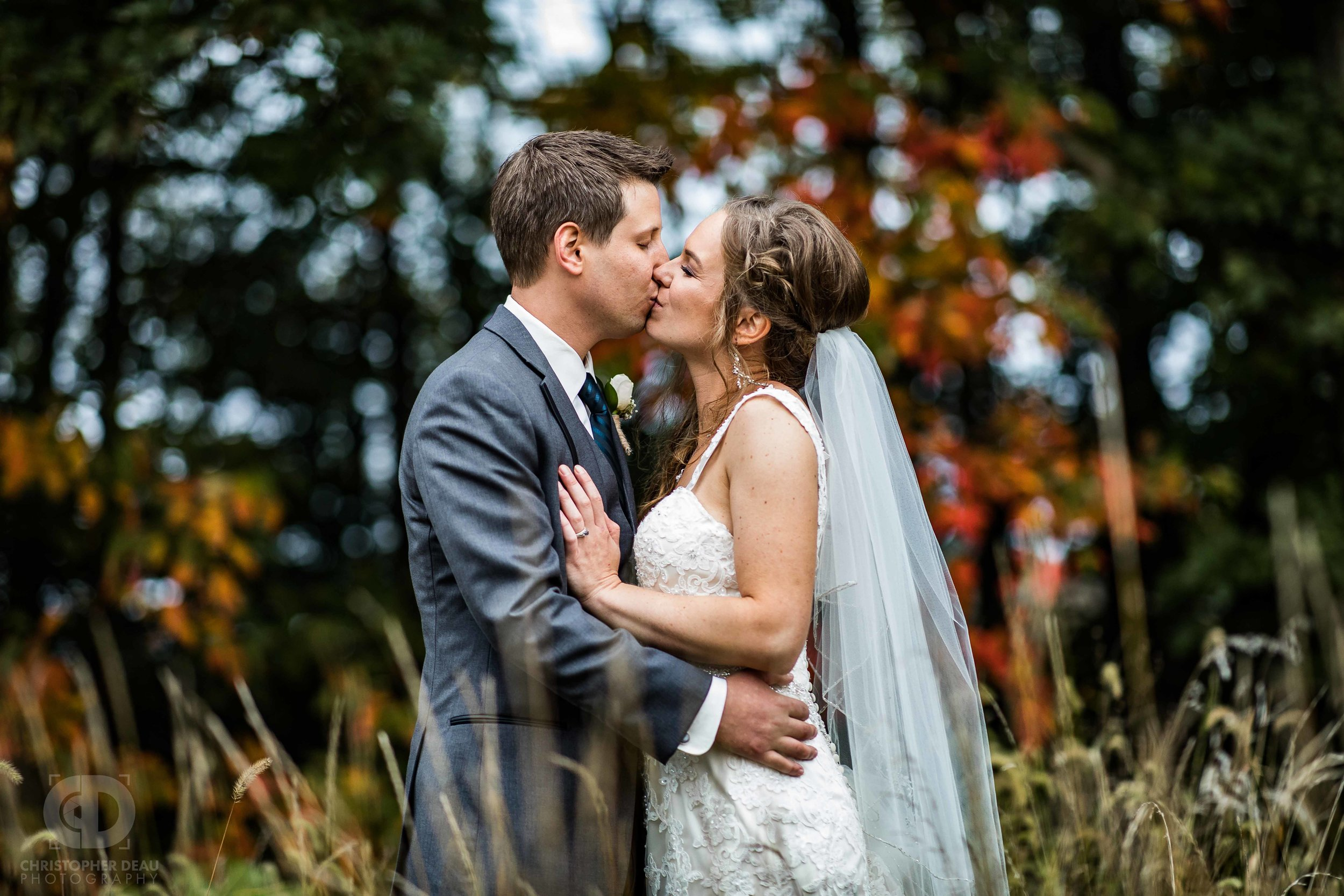 Bride and groom portraits in Southwest Michigan October Fall scene