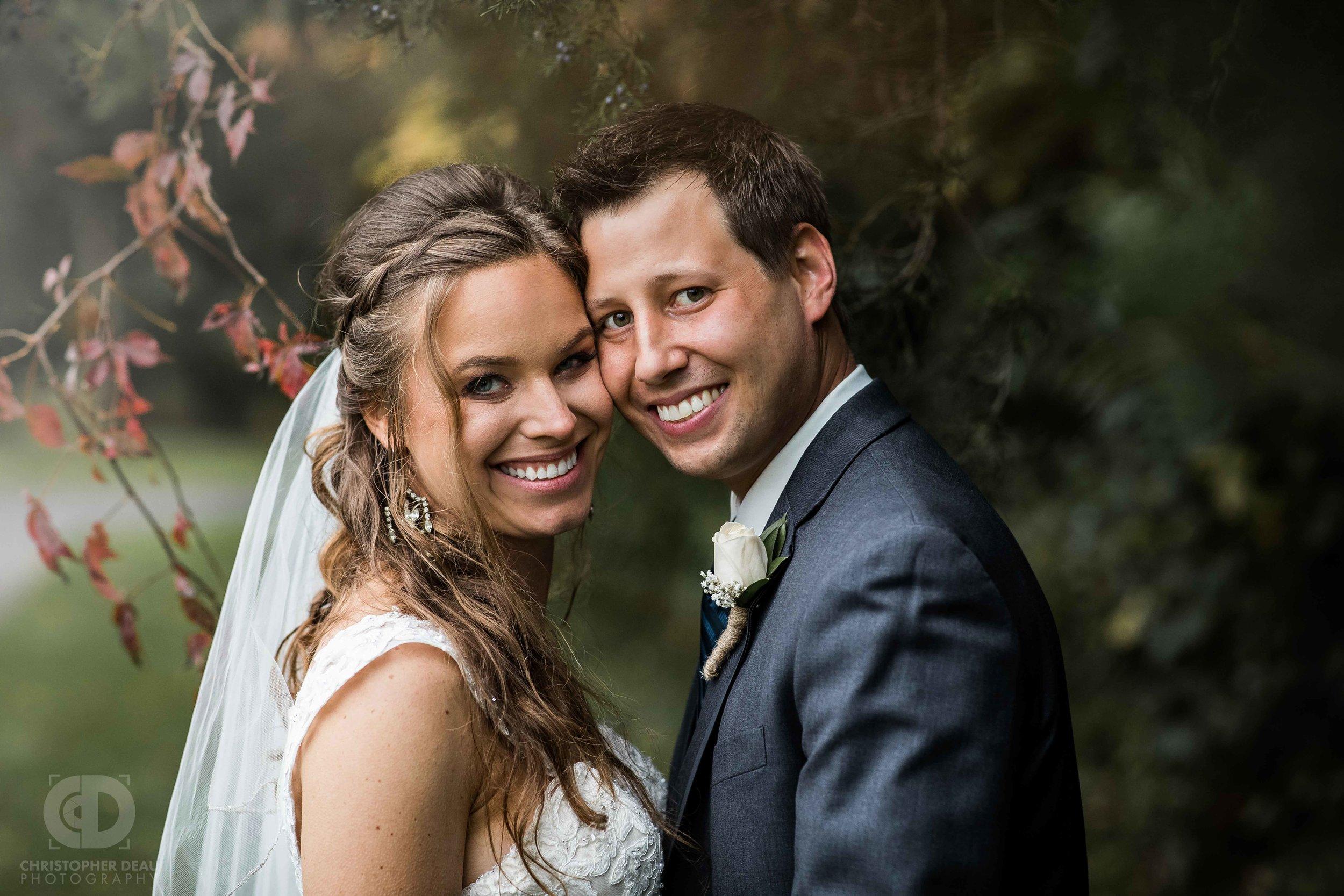 bride and groom portraits dramatic lighting