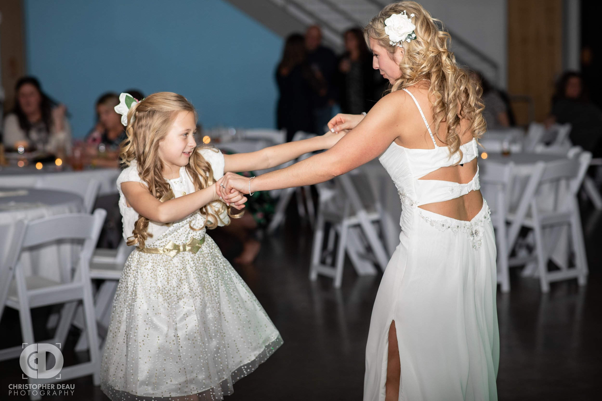 Bride dancing with her daughter