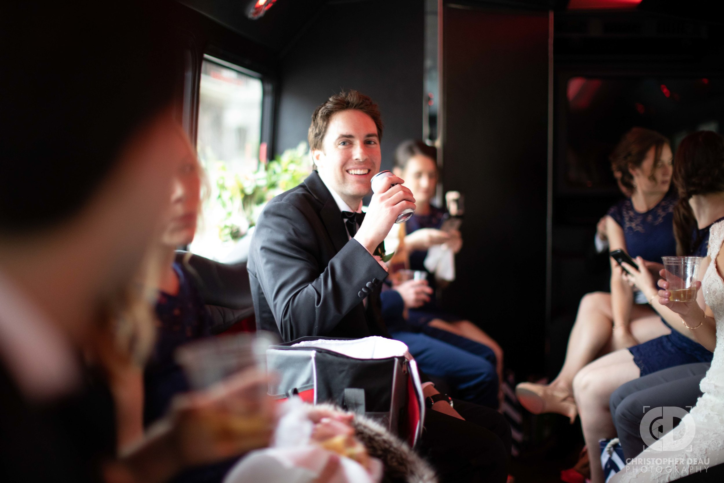 Groom on the party bus