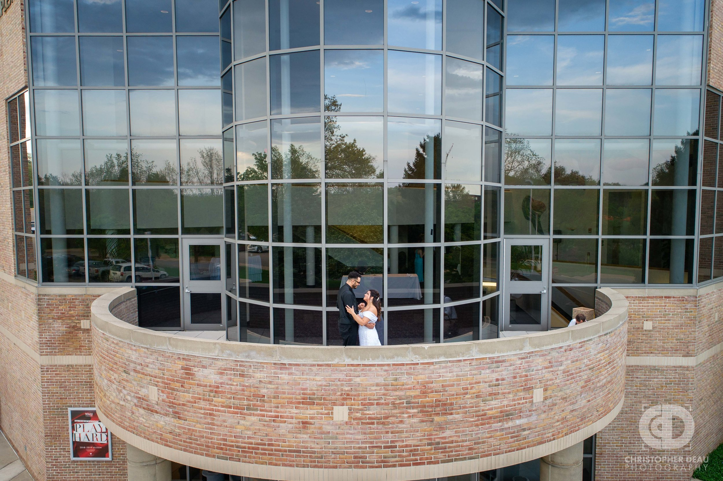 drone shot of bride and groom at WMU