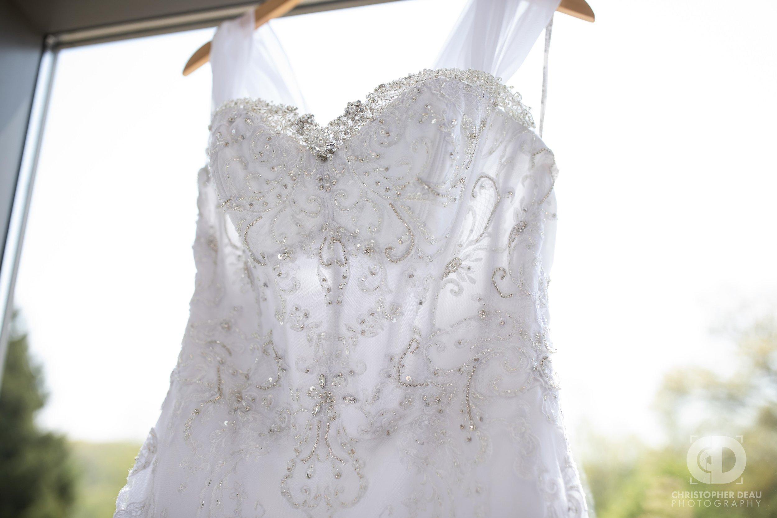 white wedding dress detail